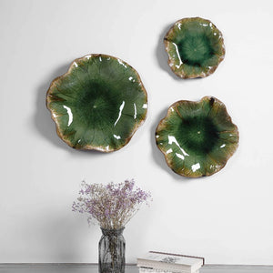 Abella Green Ceramic Wall Decor, S/3 - taylor ray decor