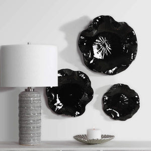 Abella Black Ceramic Wall Decor, S/3 - taylor ray decor