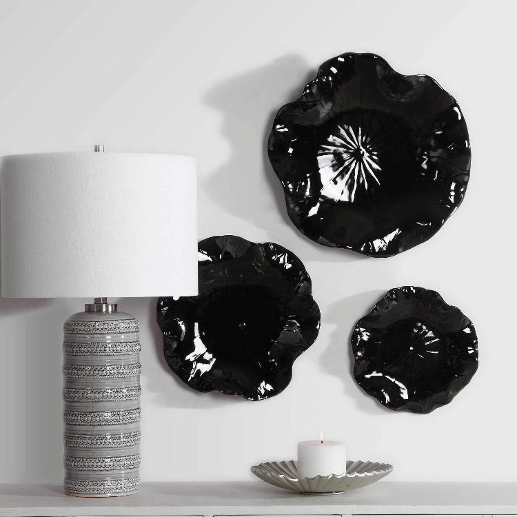 Abella Black Ceramic Wall Decor, S/3
