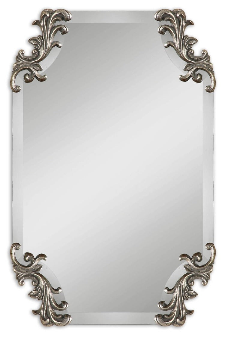 Andretta Baroque Silver Vanity Mirror - taylor ray decor