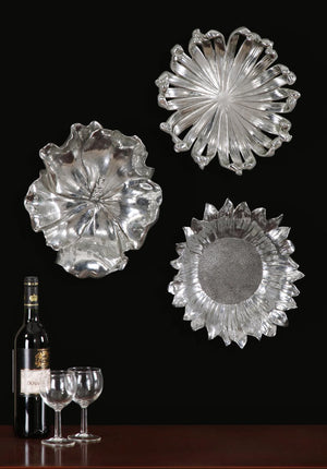 Silver Flowers Wall Art, Set/3 - taylor ray decor