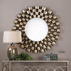 Taurion Silver Leaf Round Mirror - taylor ray decor