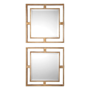Allick Gold Square Mirrors S/2 - taylor ray decor