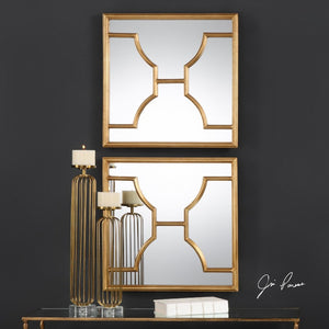 Misa Gold Square Mirrors S/2 - taylor ray decor