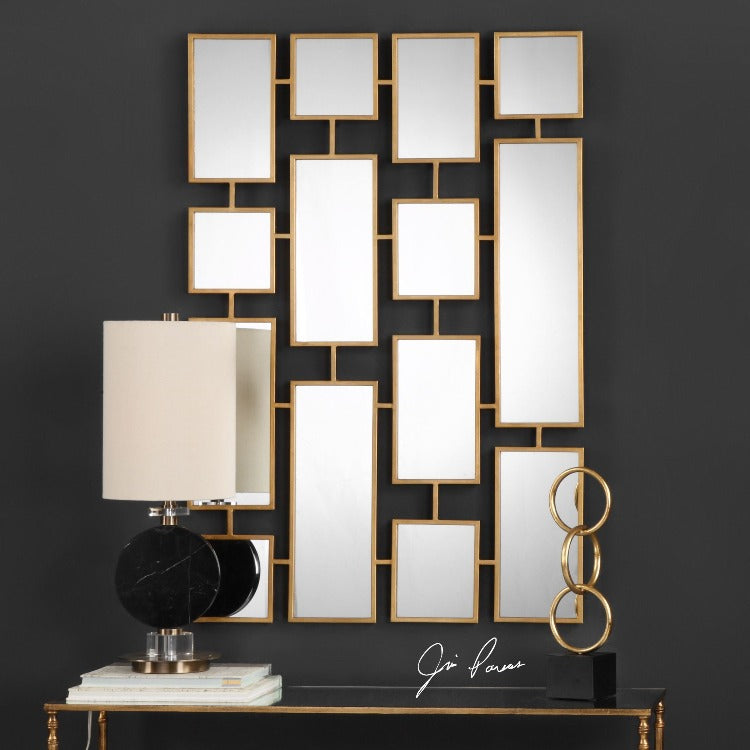 Kennon Forged Gold Rectangles Mirror - taylor ray decor