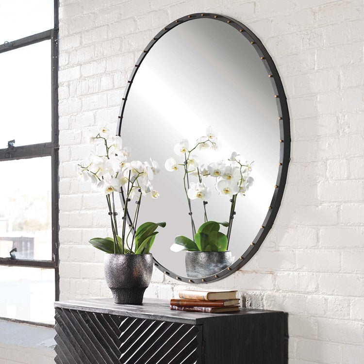 Benedo Industrial Round Mirror - taylor ray decor