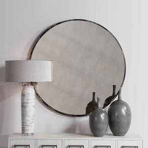 Junius Antique White Round Mirror - taylor ray decor