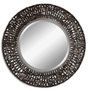 Alita Round Woven Metal Mirror - taylor ray decor