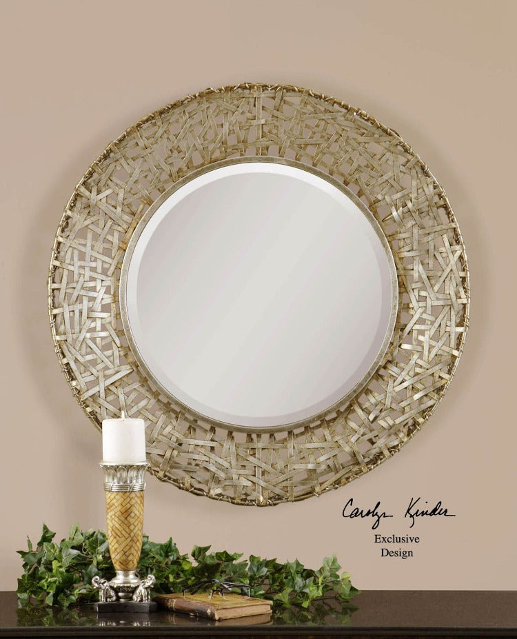 Alita Antiqued Woven Metal Mirror - taylor ray decor