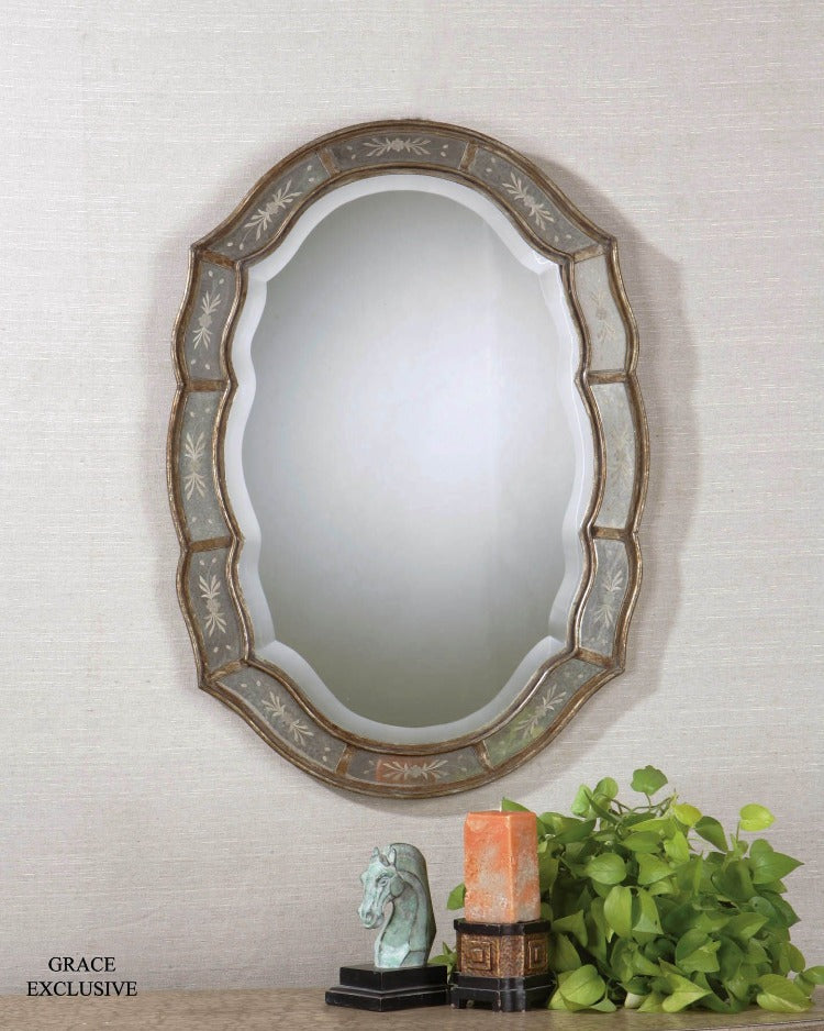 Fifi Etched Antique Gold Mirror