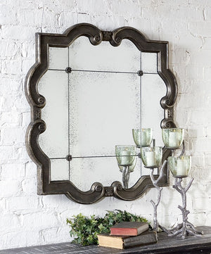 Prisca Distressed Quatrefoil Mirror