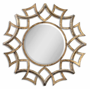 Demarco Round Antique Gold Mirror - taylor ray decor
