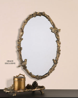Paza Oval Vine Gold Mirror - taylor ray decor