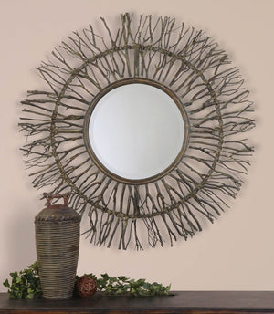 Josiah Round Woven Wood Mirror - taylor ray decor