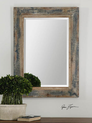 Bozeman Distressed Blue Mirror - taylor ray decor