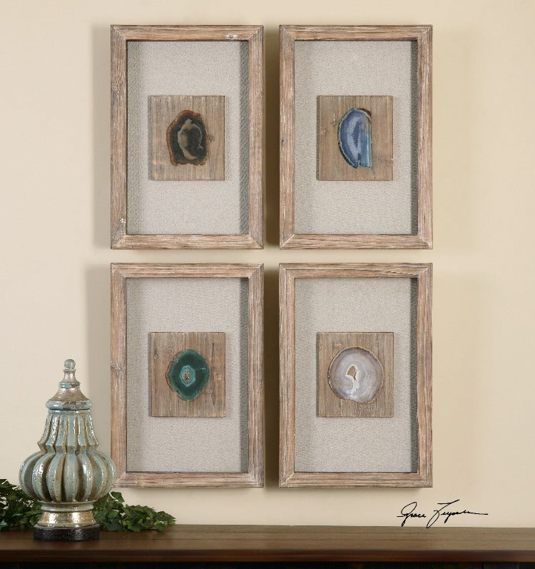 Agate Stone Shadow Boxes, S/4
