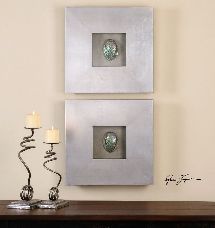 Abalone Shells Silver Wall Art, S/2 - taylor ray decor