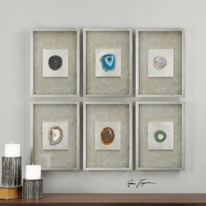 Agate Stone Silver Wall Art S/6
