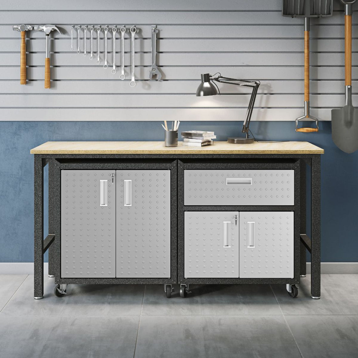 Fortress 3-Piece Mobile Space-Saving Garage Cabinets & Work Table - taylor ray decor