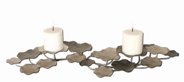 Lying Lotus Metal Candleholders