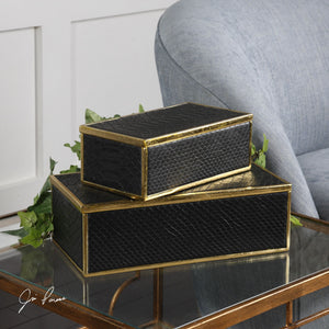 Ukti Alligator Patterned Boxes S/2 - taylor ray decor