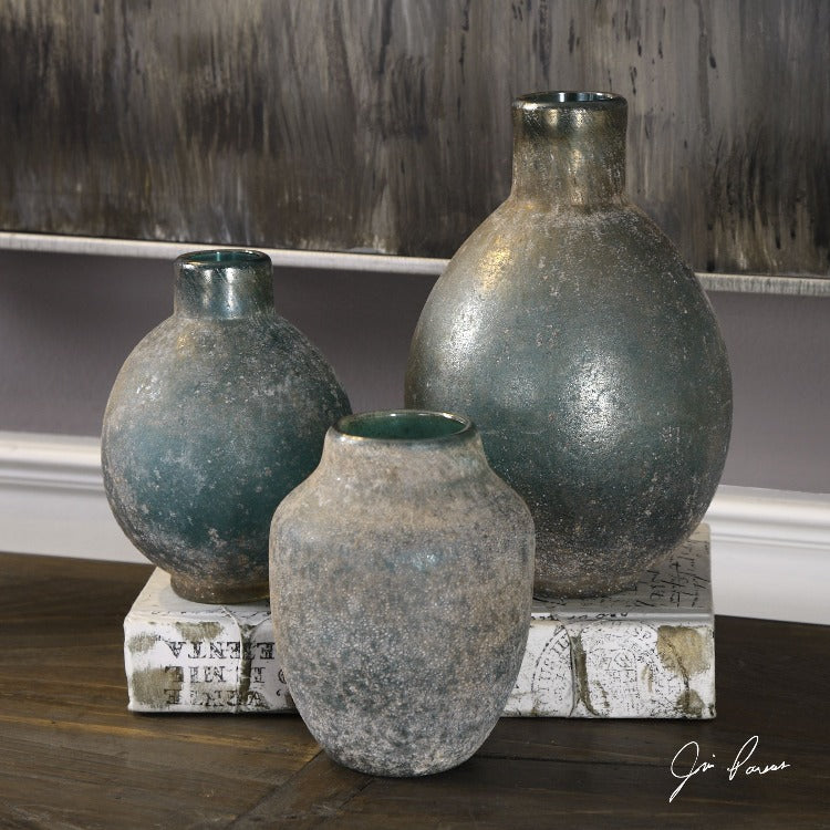 Mercede Weathered Blue-Green Vases S/3