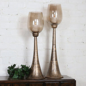 Badal Antiqued Gold Candleholders Set/2 - taylor ray decor