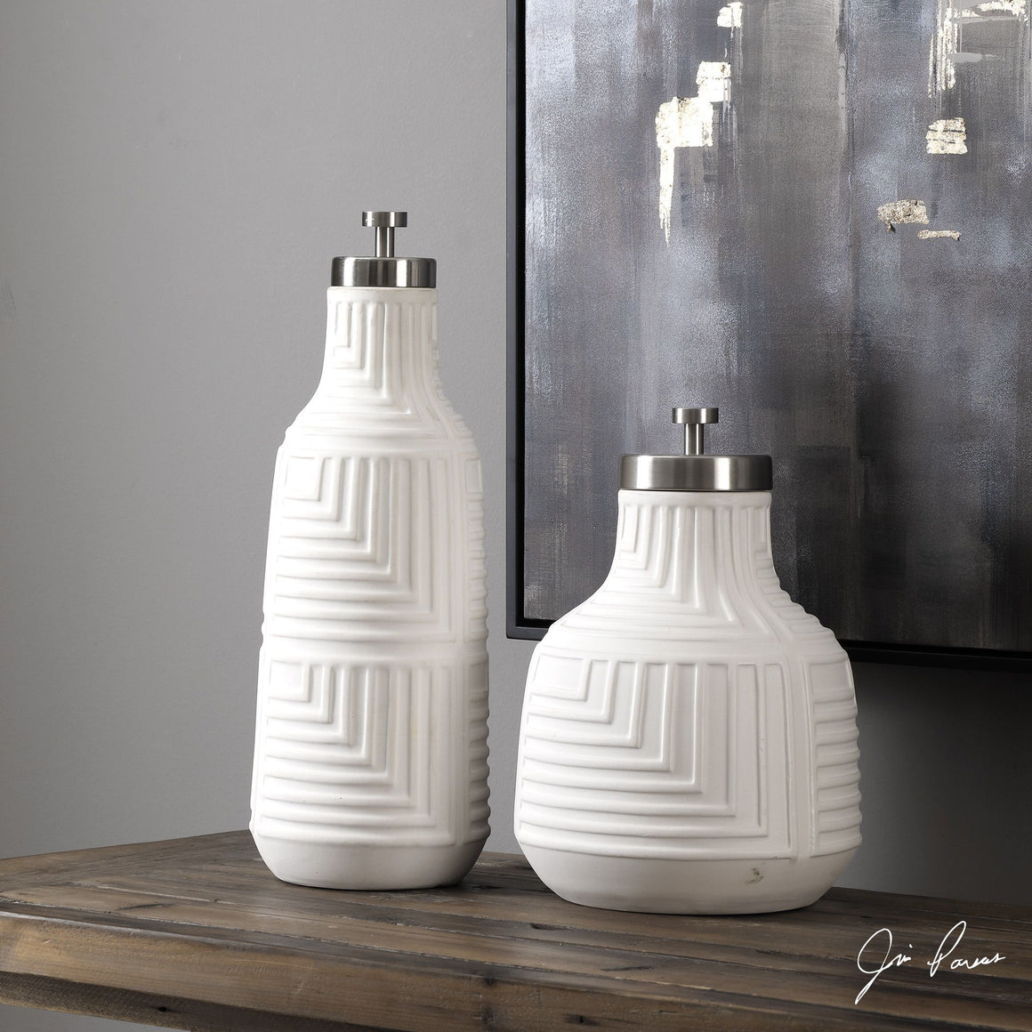 Chandran Matte White Containers S/2 - taylor ray decor