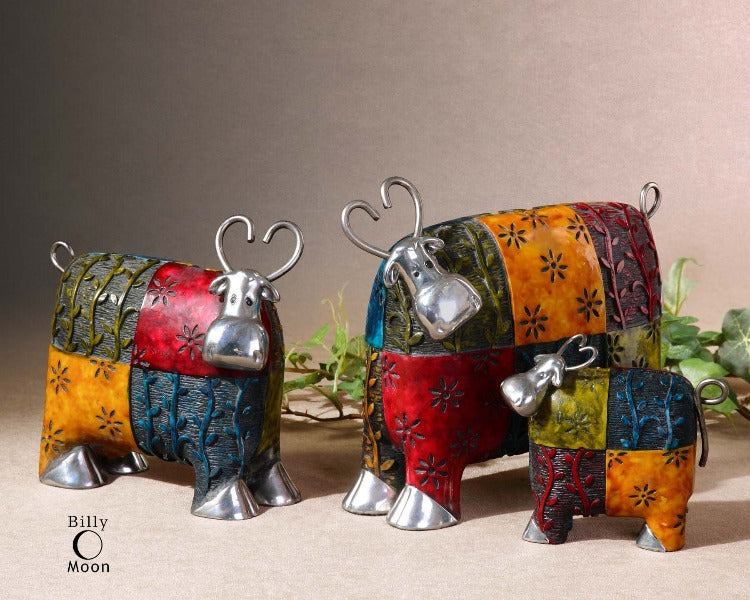 Colorful Cows Metal Figurines, Set/3
