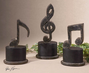 Music Notes Metal Figurines, Set/3