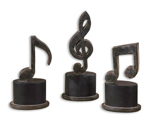Music Notes Metal Figurines, Set/3 - taylor ray decor