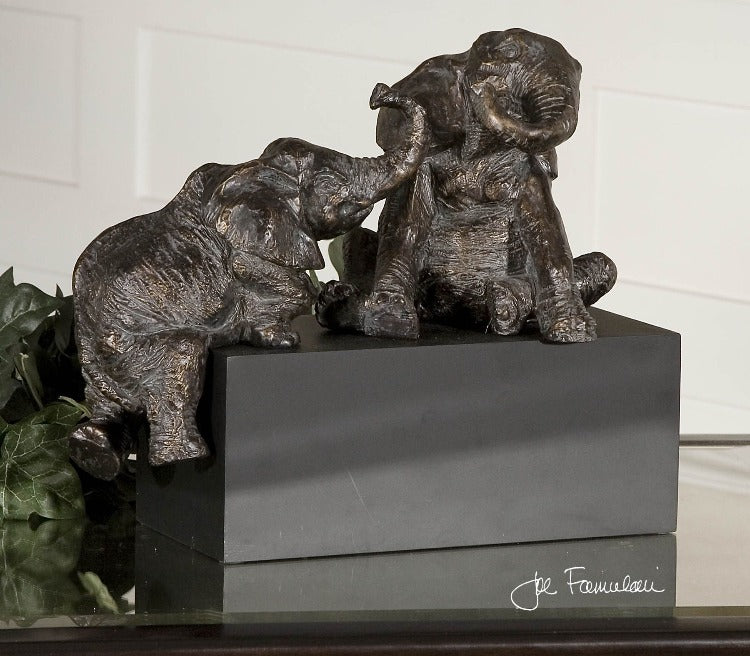 Playful Pachyderms Bronze Figurines - taylor ray decor