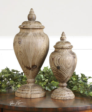 Brisco Carved Wood Finials, Set/2