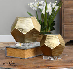 Pentagon Coffee Bronze Cubes S/2 - taylor ray decor