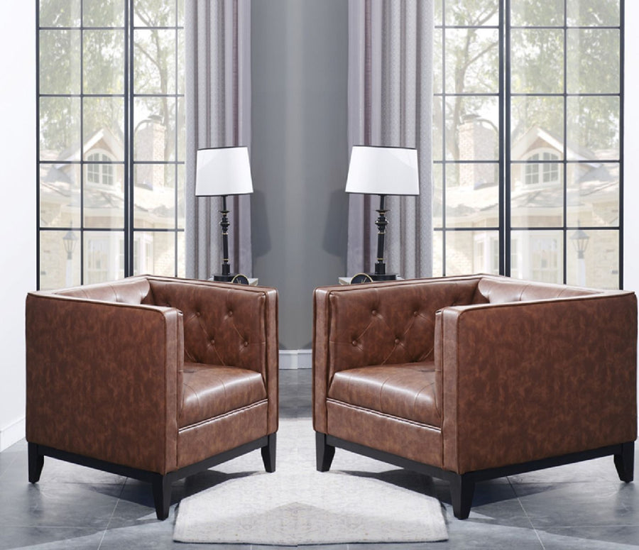 Cadman Leather Armchairs - Set of 2