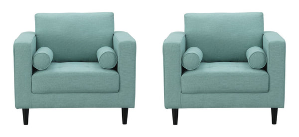 Arthur Tweed Upholstered Armchairs in Mint Green-Blue