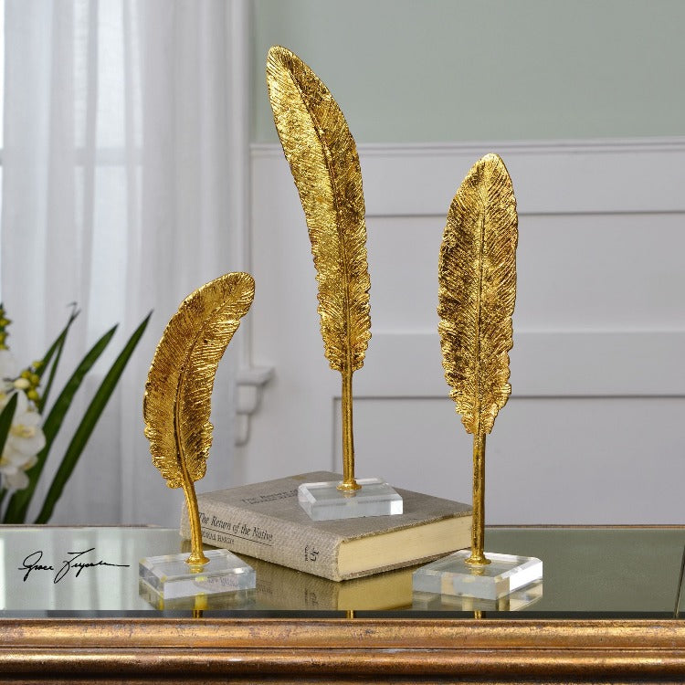 Feathers Gold Sculpture S/3 - taylor ray decor