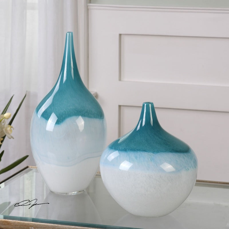Carla Teal White Vases, S/2 - taylor ray decor