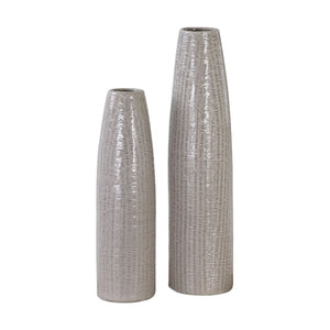 Sara Textured Ceramic Vases S/2