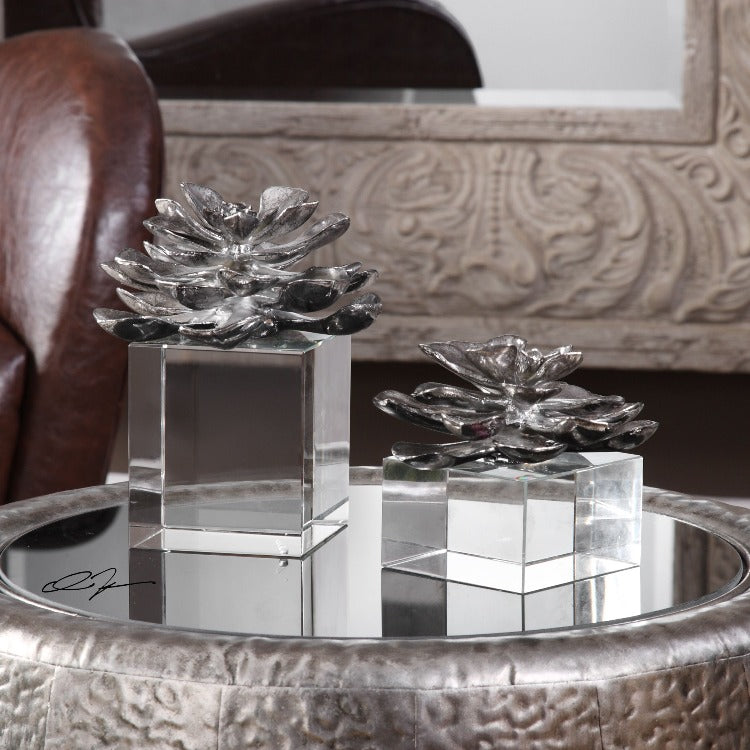 Indian Lotus Metallic Silver Flowers S/2 - taylor ray decor