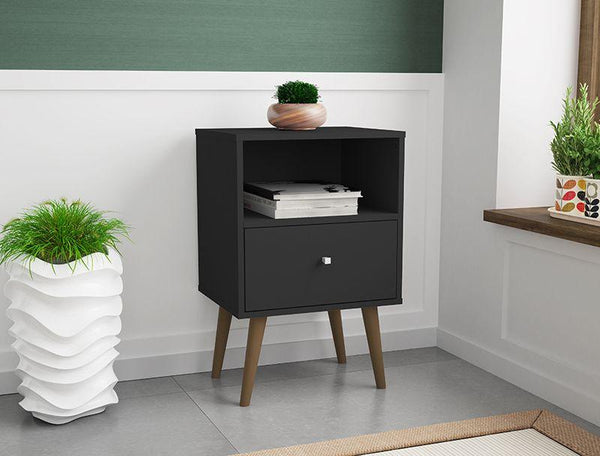 Liberty Mid-Century Modern Cubby Nightstand 1.0 in Black