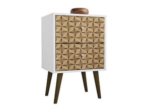 Liberty Nightstand in White and 3D Brown Prints