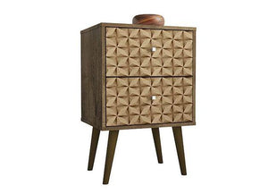 Liberty Nightstand in Rustic Brown and 3D Brown Prints