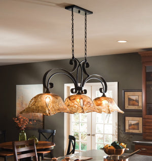 Vetraio 3 Lt Bronze Kitchen Island Light