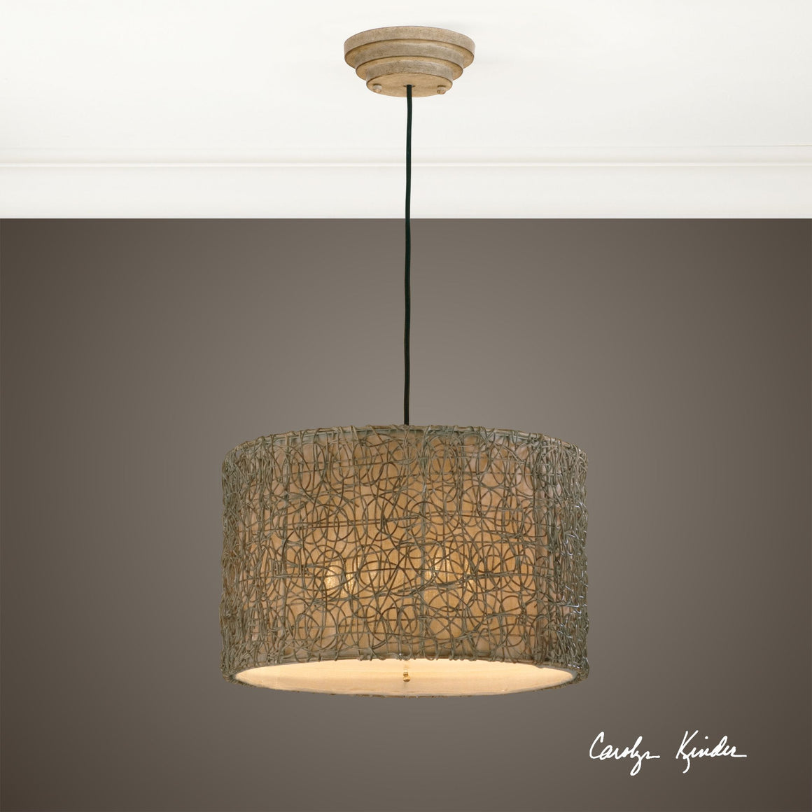 Knotted Rattan Light Drum Pendant - taylor ray decor