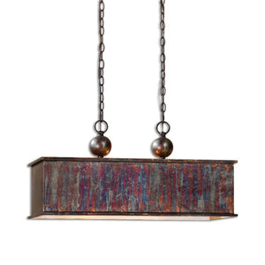 Albiano Rectangle 2 Lt Bronze Pendant
