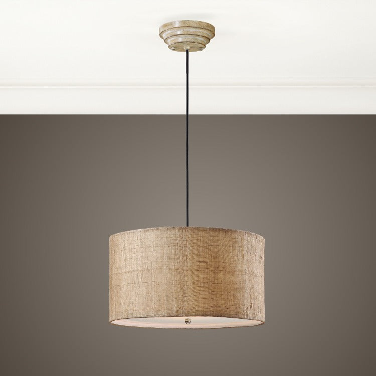 Dafina 3 Light Burlap Drum Pendant - taylor ray decor