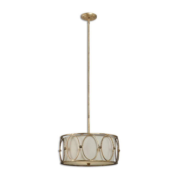Ovala 3 Light Gold Drum Pendant - taylor ray decor