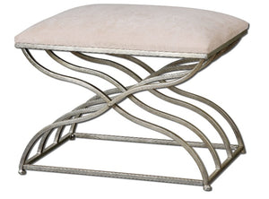 Shea Satin Nickel Small Bench - taylor ray decor