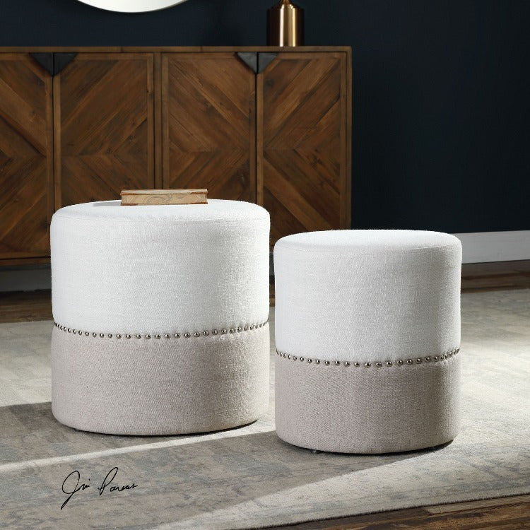 Tilda Two-Toned Nesting Ottomans S/2 - taylor ray decor